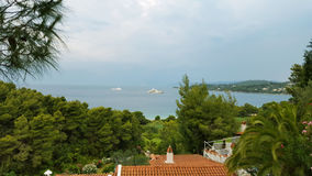 Sea view on a beautiful island of Skiathos in Greece, summer day Stock Photo