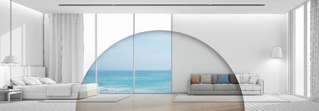 Sea view bedroom and living room in luxury beach house. 3d rendering of interior with bed and sofa Stock Photo