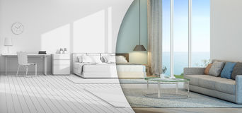 Sea view bedroom and living room in luxury beach house. 3d rendering of interior with bed, table and sofa Stock Photo
