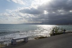 Sea view from the bench. Sea view from the bench on the coast of the island of Crete Royalty Free Stock Photos