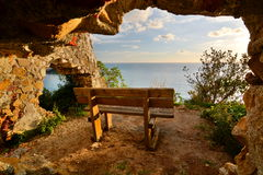 Sea view bench. Sestri Levante. Liguria, Italy Royalty Free Stock Images