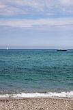 Sea view with boat and yacht Royalty Free Stock Images