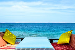 Sea view cafe. Cafe restaurant on the beach with sea views. Relaxation areas. Lounge zone Royalty Free Stock Image