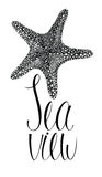 Sea view card with starfish Stock Image