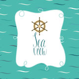 Sea view card with steering wheel ship Royalty Free Stock Photos