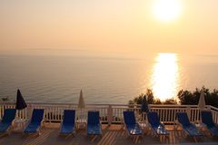 Sea View Castle holiday resort sunrise Royalty Free Stock Image