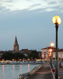 Sea view and city in the sunset time, Croatia, Porec Stock Photos