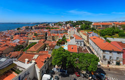 Sea view and cityscape from roof. Lisbon, Portugal. Stock Photography