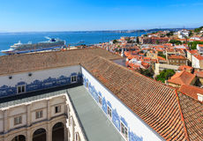 Sea view and cityscape from roof. Lisbon, Portugal. Stock Photo