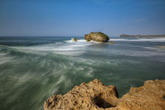 Sea view from Cliff. Beautiful Morning Scenery of Sea on Baron, Yogyakarta, Indonesia Stock Images