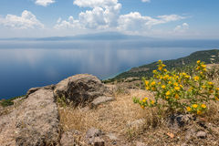 Sea view  and clouds reflection, Assos Stock Photo