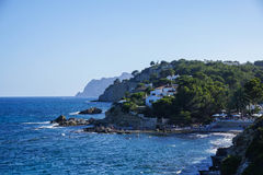Sea view coast of Moraira Spain. Sea view of the coast of Moraira in Spain Stock Photography