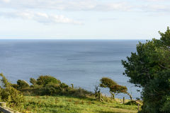 Sea view from coast path near Looe, Cornwall Stock Images