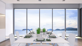 Sea view dining room / 3D Rendering Stock Photos