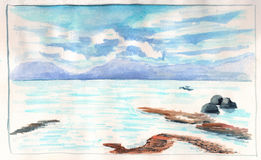 Sea view with distant island during low tide. Seaside of tropical island hand-drawn illustration Stock Image
