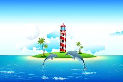 Sea view with Dolphin and Lighthouse Royalty Free Stock Photo
