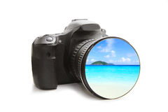 The sea  view in DSLR camera Stock Photography