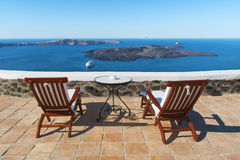 Sea view from Fira, Santorini Royalty Free Stock Images