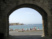 Sea view through the fortress gate. Stock Photos