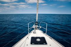 The sea view from the front of the yacht, in the summer time. The sea view from the front of the yacht, in the summer, blue sky with clouds royalty free stock images