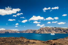 Sea view on the Greek Islands. The volcano near the island of Santorini Royalty Free Stock Images