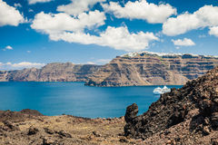 Sea view on the Greek Islands. The volcano near the island of Santorini Stock Photo