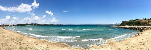 Sea view of Hamza (hamza Koyu) harbour Gallipoli (Gelibolu). The Macedonian city of Callipolis w Stock Photos