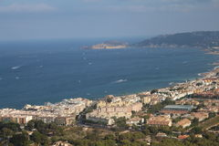The sea view from the hill with historic mills in Javea, Spain stock photos
