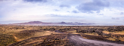 Sea View of hills, sky and rock. Panorama in the Reykjanes Peninsula in Iceland Stock Images