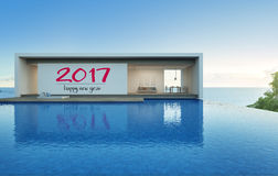 Sea view house with pool in modern design, Luxury villa. 3d rendering of building and swimming pool royalty free illustration