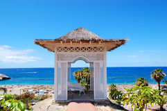 Sea view hut and beach at luxury hotel Stock Photo