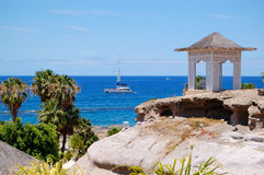 Sea view hut with bench over beach at luxury hotel Royalty Free Stock Images