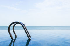 Sea view of infinity swimming pool with sky Stock Images