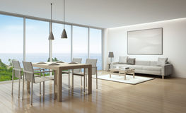 Sea view interior. Sea view living room and dining room in luxury house- 3D rendering Stock Image