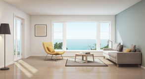 Sea view interior. Scandinavian sea view living room in luxury house- 3D rendering Royalty Free Stock Images