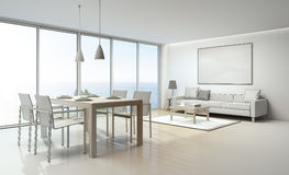 Sea view interior sketch design. Sketch design of sea view living room and dining room in luxury house- 3D rendering Stock Images