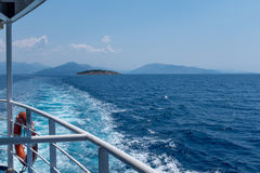 Sea view with islands from ship deck Stock Photos
