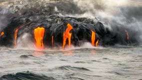 Kilauea Volcano cinemagraph. Sea view of Kilauea Volcano in Big Island, Hawaii, United States. A restless volcano that has been in business since 1983 stock video footage