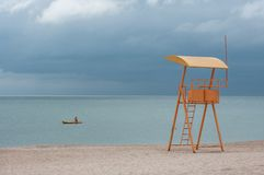 Sea view with a lifeguard observation point Stock Photo