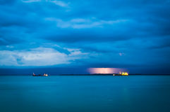 Sea View and Lightning Royalty Free Stock Images