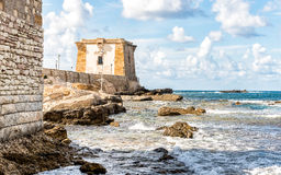 Sea view with Ligny Tower, Trapani, Italy. Stock Image