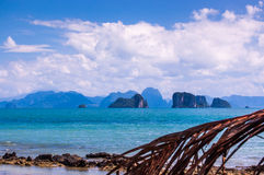 Sea view & limestone karsts in southern Thailand. View of limestone karsts in Phang Nga Bay in southern Thailand Stock Images