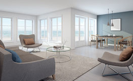 Sea view living and dining room in modern beach house Stock Photo
