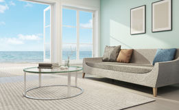Sea view living room in beach house. 3d rendering of sofa and coffee table Stock Photography
