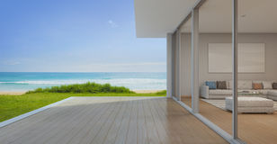 Sea view Living room with empty terrace in modern luxury beach house, Vacation home for big family. 3d rendering of building and terrace vector illustration