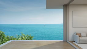 Sea view living room in modern beach house, Terrace of luxury hotel stock video footage