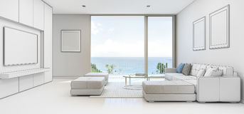 Sea view Living room with terrace in luxury beach house, Sketch design of modern vacation home for big family. 3d rendering of interior with sofa vector illustration