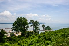 Sea view, top view of Southern Thailand Royalty Free Stock Photo