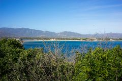 Sea view. Mediterranean sea view with green bushes Stock Images