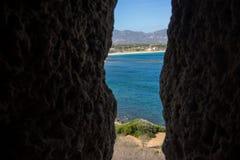 Sea view. Mediterranean sea view with green bushes Stock Photo